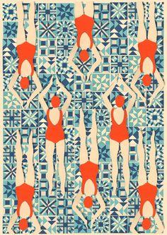 ''Art Deco Print // Swimmers print // Papercut Print by Lou Tayylor Papercuts on Etsy UK Can pattern be editorial illustration? Arte Art Deco, Motif Art Deco, Art Deco Print, Art Deco Pattern, Art Deco Design, Pattern Design, Art Deco Fabric, Art Deco Tiles, Pattern Ideas