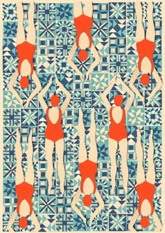 Art Deco Print // Swimmers print // Papercut Print by LouTaylorStudio on Etsy https://www.etsy.com/listing/166607089/art-deco-print-swimmers-print-papercut