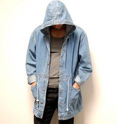 DENIM PARKA hooded blue cotton TOGGLE  jacket.