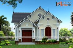 Mẫu thiết kế nhà biệt thự đẹp: BT1638 Small House Exteriors, Small Modern Home, House Elevation, Best House Plans, Small House Design, Grand Entrance, Classic House, Front Design, Future House