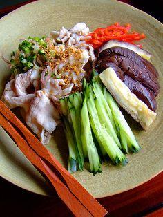 Shabu-Shabu Japanese Hot Pot ingredients - Thinly sliced Beef/other meat in Citrus Ponzu sauce with Napa Cabbage, Shungiku, Enoki Mushrooms and Assorted Vegetables of choice.