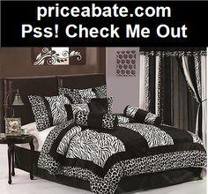 7pcs Black White Zebra Giraffe Micro Fur Comforter Bed-in-a-Bag Set Twin - #priceabate! BUY IT NOW ONLY $29.99