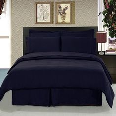 Solid Black Bedding Set Super Soft Microfiber Sheets+Duvet+Alternative from Scotts Sales. Queen Size Comforter Sets, King Size Comforters, King Duvet Cover Sets, Duvet Sets, Bed Sets, Queen Duvet, Blue Duvet, Black Bedding, Bedroom Black