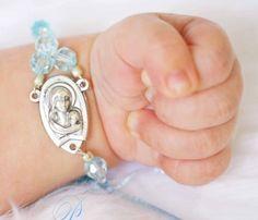 Religious baby boy Baptism bracelet
