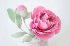 Blooms in the Air | Single Handmade Sweetly Pink Paper Peony and Bud  renegadecraft.com/sanfrancisco-summer-home