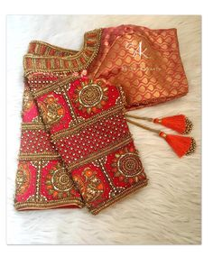 Beautiful brocade designer blouse with hand embroidery kundan and bead work on sleeves.
