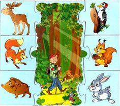 File Folder Activities, Picture Boards, Animal Crafts For Kids, Matching Games, Forest Animals, Fun Games, Habitats, Montessori, Coloring Books