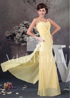 Fantastic Chiffon Spaghetti Straps Neckline Sheath Prom Dresses With Beadings