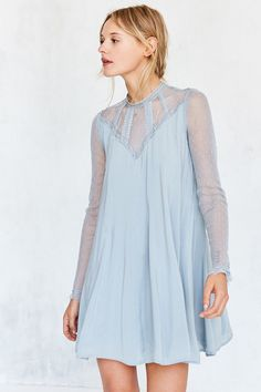 Kimchi Blue Constance Embroidered Mesh Mock Neck Frock Dress At Urban Outers Today