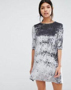 Mango Crushed Velvet Shift Dress