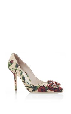 Decollete Broccato Rose Printed Embellished Pump by Dolce