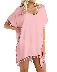 159be6d7a9 MOLERANI Women's Stylish Chiffon Tassel Beachwear Bikini Swimsuit Cover up  at Amazon Women's Clothing store: