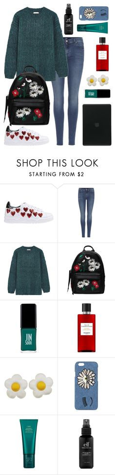"""""""Green vs. Chiara Ferragni Colection"""" by kika-lv ❤ liked on Polyvore featuring beauty, Chiara Ferragni, 7 For All Mankind, See by Chloé, JINsoon, Hermès, Oribe, e.l.f. and Tucano"""