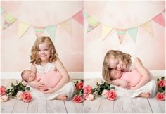 Newborn Girl Portrait Session! #newborn #bigsister #sisters #shabbychic