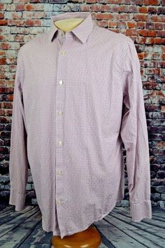 Banana Republic Men's Slim Fit Shirt Lavender White Gingham Check Plaid Sz. XL #BananaRepublic #ButtonFront