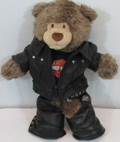 Harley Davidson Plush Bear In Leather Chaps & Jacket With Black Matching Shirt -Official Harley Davidson Bear and clothing -Collectible -Hard to find item ​ #harleydavidsonchaps
