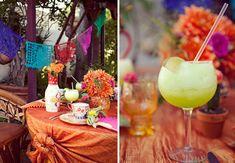 square crepe paper flower cocktail engagement party