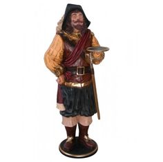 Life size STATUE waiter 6' three musketeer w tray butler old man cave pub wine