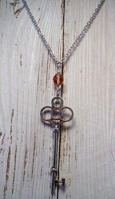 Key Necklace, Dark Pink Rose Jewellery, Romantic Simple Jewelry, Vintage inspired skeleton key pendant, Gift for Her, Bridal Bridesmaid Gift by BackAlleyDesignsINK on Etsy