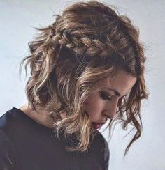 Long bob hairstyles for thick hair. Long bob hairstyles with side bangs. Long bob hairstyles for round face. Formal Hairstyles For Short Hair, French Braid Hairstyles, Braids For Short Hair, Short Hair Cuts, Bob Hairstyles, French Braids, Short Wavy, Wavy Hair, Thick Hair
