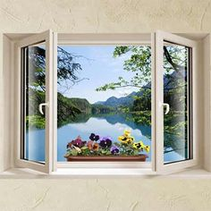 3D-effect wall decal, window with lake view and pansies Looks like a collage - reminds me of Magritte