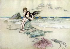 Bathe in Me, Mother and Child // Children`s Book Illustrations from Water Babies // Artist: Warwick Goble Warwick Goble, Mother Son Tattoos, Kids Canvas Art, Tattoo For Son, Kids Poster, Children's Book Illustration, Book Illustrations, Childrens Books, Fairy Tales