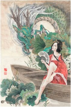 Chinese Dragon Art, Chinese Dragon Tattoos, Chinese Art, Chinese Prints, Art Geisha, Geisha Drawing, Original Art, Original Paintings, Art Paintings