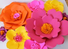 Papel extra grande flor  flor de papel hecha a mano  colores