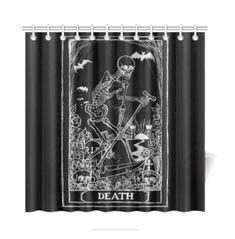 Gothic Bathroom Decor, Shower Curtain Art, Halloween Skeletons, Couch Pillows, Tarot Cards, Death, Curtains, Fabric, Etsy