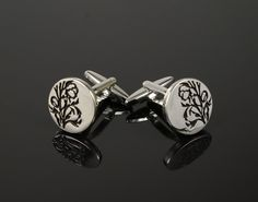 Round Engraved Leaves Cufflinks - www.CuffLinked.com.au
