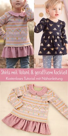 Tutorial für geraffte Rockteile und Volants Tutorial for Ruched Skirts and Flounces Belted Shirt Dress, Tee Dress, Tartan Pattern, Gathered Skirt, Sewing For Kids, Boho Dress, Dress Patterns, Clothes Patterns, Knitted Baby