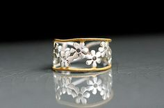 8b93197c1b68 Bicolor Flower Ring. Sterling ring with gold plated trim. Anillos  Delicados