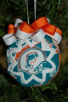 NFL Miami Dolphins folded star ball ornament. $9.99 USD, via Etsy.
