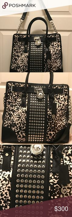 SALE Michael kors Animal Print Hamilton Stud Tote Mk Pre-loved RARE find in  great condition. Black leather with black white printed dyed calf hair fur. c132d9893f934