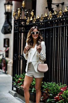 a4e2133ec943 How To Make Shorts Feel Dressy - Outfit Details  Likely White Top Clayton  Gingham Shorts Lioness Blazer Chloe Wedges Chloe Nile Bag Quay White  Sunglasses ...