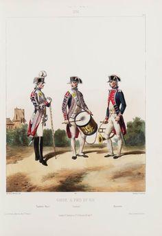 1791. Garde à Pied du Roi: Tambour-Major; Tambour; Musicien