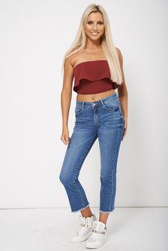 Fray Hem Ankle Grazer Jeans