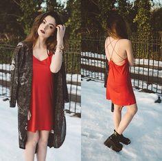 Stacey Gray Macdonald - Mxci Witchcraft Mini Dress, Drop Dead Dark Hand Kimono, Unif Heather Boots - Love Spell