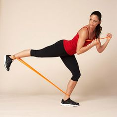 Work your butt and legs with a resistance band in the Power Kick...toned butt and thighs. What more could a girl want??
