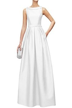 La Mariee Elegant Scoop Neck Satin Formal Ball Gowns Evening Dresses Long4White ** Check out this great product.