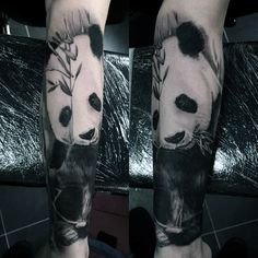 Panda Bear Tattoo Designs For Men - Manly Ink Ideas Realistic Panda Bear Mens Leg Sleeve TattoosRealistic Panda Bear Mens Leg Sleeve Tattoos Half Sleeve Tattoos Lower Arm, Arm Tattoos Forearm, Tattoos For Women Half Sleeve, Leg Sleeve Tattoo, Best Sleeve Tattoos, Tattoo Sleeve Designs, Tattoo Designs Men, Tattoos For Guys, Cool Tattoos