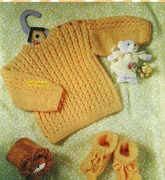 Suéter de bebé unisex en dos agujas con instrucciones