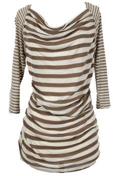 Krista Stripe Top in Ivory/Mocha    www.lilyboutique.com