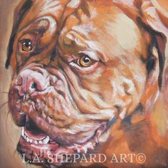 """A Dogue de Bordeaux dog art portrait print of an LA Shepard painting 12x12"""". Here's a wonderful tribute to your best friend and favorite breed- the Dogue de Bordeaux! from an original painting by L.A.Shepard, whose unique, beautiful work has been collected around the world. Your print will be individually signed under the image by the artist, and initialed on the image. Copyright text is for display purposes only and will not appear on your artwork. The image is 12x12 inches and is…"""