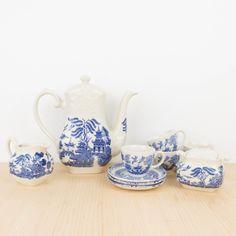 Juego de te inglés en loza blanca y azul estilo Chinoiserie | Antic&Chic