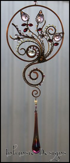 SPRING DAY.... Gemstone and Wire Suncatcher by IntrinsicDesignsArt