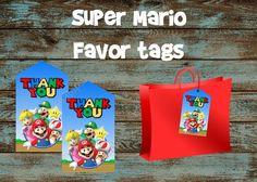 Super Mario Favor tags, Super Mario tags, Super Mario Thank you cards, Super Mario Gift tags, Super Mario Goodie bag tags, Mario and Luigi