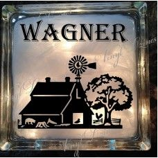 Personalized Lighted Glass Block with Barn Scene from Vinyl Dzines Painted Glass Blocks, Decorative Glass Blocks, Lighted Glass Blocks, Christmas Wood Crafts, Christmas Signs Wood, Glass Cube, Glass Boxes, Barn Board Projects, Christmas Window Lights