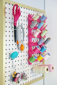 i might need to create something similar for my sewing space... IHeart Organizing: The Easiest Pegboard Project Ever!
