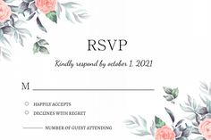 Customize this design with your video, photos and text. Easy to use online tools with thousands of stock photos, clipart and effects. Free downloads, great for printing and sharing online. Label. Tags: invitation, rsvp, rsvp card, watercolor floral, wedding rsvp, Wedding , Wedding